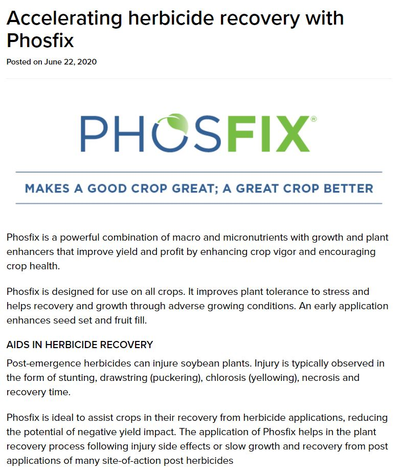 Accelerating herbicide recovery with Phosfix