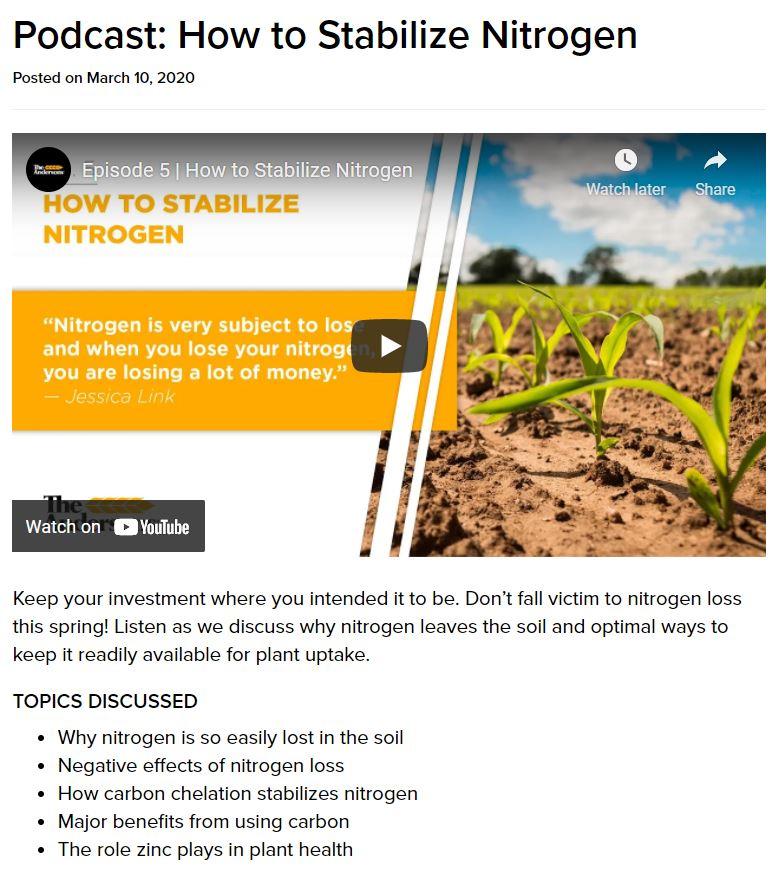 Podcast: How to Stabilize Nitrogen
